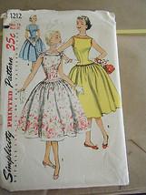 Vintage 1950's Simplicity 1212 Misses Dresses Pattern - Size 14 Bust 32 - $26.75