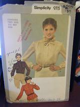 Vintage Simplicity 9713 Misses Blouses Pattern - Sizes 6 & 8 Busts 30 1/... - $4.72