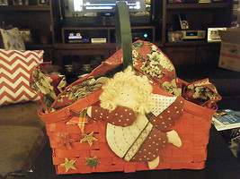 Christmas Holiday Red Christmas Basket w/Quilted Appliqued Angel & Stars - $17.80