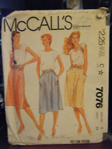 Vintage McCall's 7076 Misses Skirts Pattern - Size 6 Waist 23 - £4.75 GBP