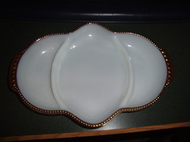 Vintage Anchor Hocking Fire King Milk White Divided Condiment or Relish Dish - $13.37