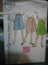 Simplicity 4525 Teen Size Skirt Pattern - Waist 24 Hip 32 - $6.72