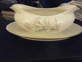 Vintage Sone Pink Thistle Gravy Boat w/Attached... - $44.54