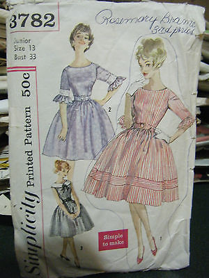 Primary image for Vintage Early 1960's Simplicity #3782 Misses Dress Pattern - Junior Size 13