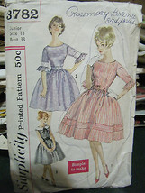 Vintage Early 1960's Simplicity #3782 Misses Dress Pattern - Junior Size 13 - $8.01