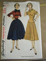 Vintage 1950's Simplicity 3969 Misses Dress Pattern - Size 16 Bust 34 - $15.16