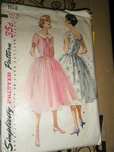 Vintage 1950's Simplicity 1618 Misses Dresses Pattern - Size 12 Bust 30 - $13.37