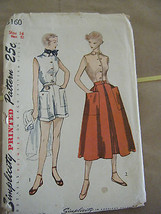 Vintage 1950's Simplicity 3160 Blouse, Skirt & Shorts Pattern - Size 14 ... - $10.69