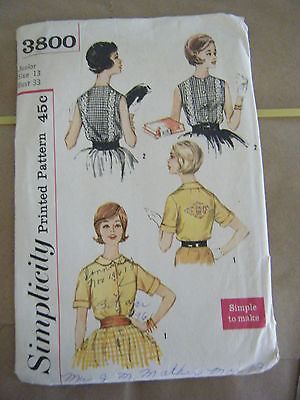 Primary image for Vintage 1960's Simplicity 3800 Junior Size Blouses Pattern - Size 13 Bust 33