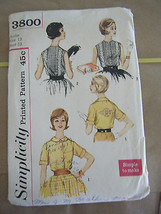 Vintage 1960's Simplicity 3800 Junior Size Blouses Pattern - Size 13 Bus... - $12.48