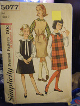 Vintage 1960's Simplicity 5077 Girl's Jumper & Blouse Pattern - Size 7 C... - $6.24