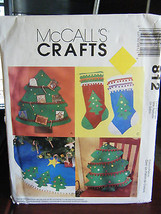 McCall's 812 Christmas Tree Card Holder, Stocking, Pillow & Tree Skirt P... - £4.78 GBP