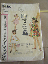 Vintage 1960's Simplicity 5480 Girl's Dress, Panties & Scarf Pattern - S... - $9.80