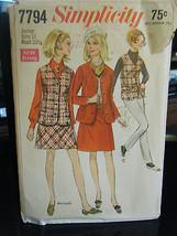 Simplicity 7794 Junior Size Skirt, Mini-Skirt, Jackets Pattern Sz 11 Bust 33 1/2 - $6.24