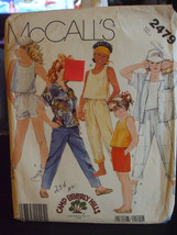 McCall's 2479 Girl's Shirt, Top, Pants & Shorts Pattern - Size L (12-14) - $6.24