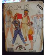 McCall's 2479 Girl's Shirt, Top, Pants & Shorts Pattern - Size L (12-14) - $6.24