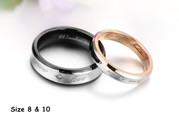 Forever Love Matching Titanium Steel Band Rings Free Shipping