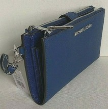 New Michael Kors Jet Set Travel Double Zip Wristlet Leather Wallet Sapphire - £53.28 GBP