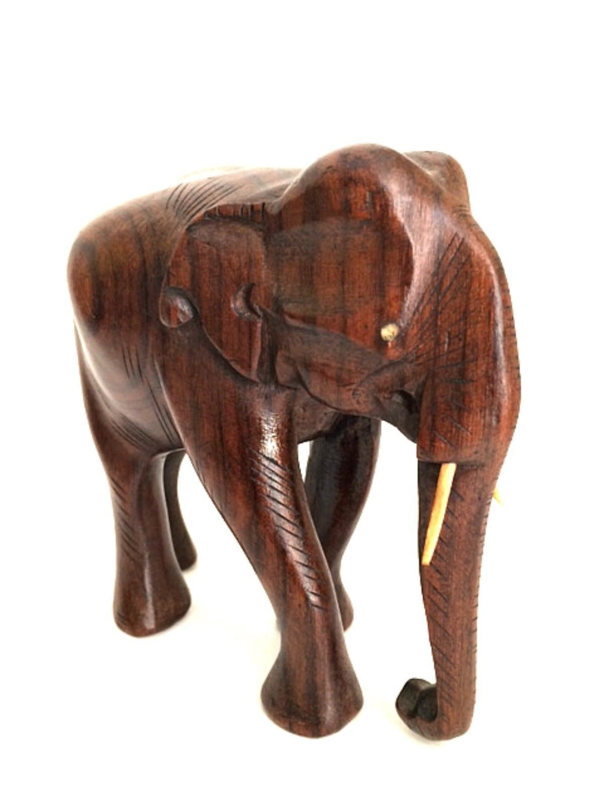 wooden elephant hand carved figurine trunk down 5 x 6 inches figurines. Black Bedroom Furniture Sets. Home Design Ideas