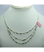 """Women's Fashion Silver Tone Box Chain Layered Necklace with Pearl  15"""" - $21.68"""