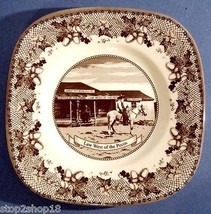 Johnson Brothers Historic America ll Square Salad Plate Brown Law Pecos U.K. New - $18.90