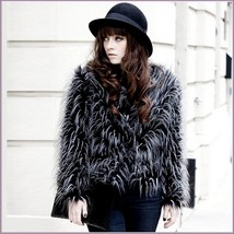 Plush Peacock Feather Faux Fur Long Sleeved Medium Length Jacket Coat - $142.95