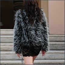 Plush Peacock Feather Faux Fur Long Sleeved Medium Length Jacket Coat image 2