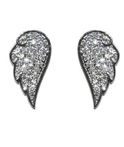 Angel Wing Pave Clear Cubic Zirconia Stud Earrings - $24.74