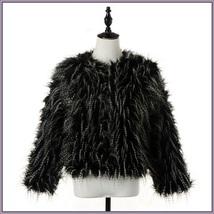 Plush Peacock Feather Faux Fur Long Sleeved Medium Length Jacket Coat image 3