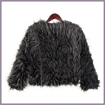 Plush Peacock Feather Faux Fur Long Sleeved Medium Length Jacket Coat image 4