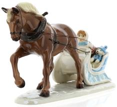 Hagen-Renaker Specialties Ceramic Christmas Figurine Horse Drawn Sleigh image 3