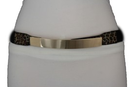 Women Narrow Belt Fashion Hip Waist Black Elastic Gold Metal Plate Leopard M L - $15.67