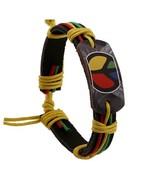 Genuine Leather Rasta Peace Symbol Bracelet - A... - $5.70