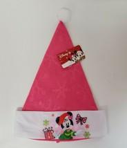 Disney Minnie Mouse Pink Felt Santa Hat Embossed Snowflake Festive NEW - $6.00