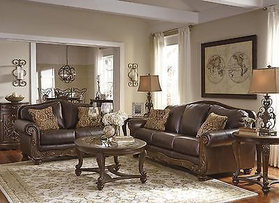 Ashley Mellwood Living Room Set 2pcs Genuine Leather Walnut  Traditional Style