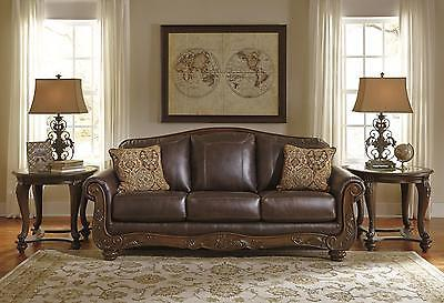Ashley Mellwood Living Room Sofa Genuine Leather Walnut Traditional Style