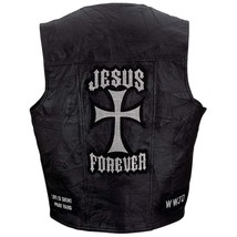 Giovanni Navarre® Black Genuine Leather Vest with Christian Patches MED-... - $19.48+