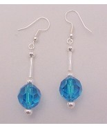 Dangle Earrings Blue Faceted Glass 12mm Ball Si... - $12.95