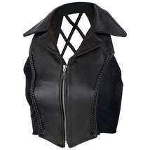 Diamond Plate™ Ladies' Black Solid Genuine Leather Vest Crosshatch Back ... - $29.06+