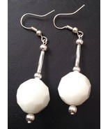 Dangle Earrings Opaque White Faceted Glass 12mm... - $12.95