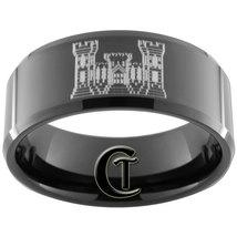 Tungsten Carbide Ring 10mm Black Beveled Army Engineer Design Sizes 5-15 - $49.00