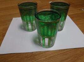 Morocco Tea Green & Gold Glasses Decorated Glas... - $15.83