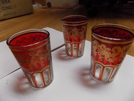 Morocco Tea Red & Gold Glasses Decorated Glass ... - $15.83