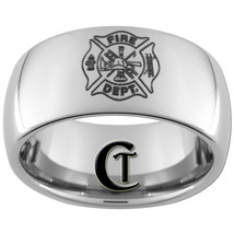 10mm Tungsten Carbide Dome Firefighter Design Ring Sizes 4-17 - $49.00
