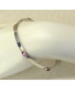 Sterling Silver Bangle Bracelet Faux Gemstone Accents - $30.99