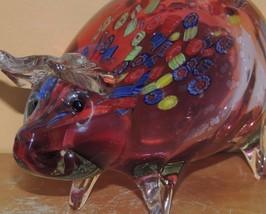"Art Glass Pig Red/ Cranberry 8.75"" millefiori unmarked Italian Murano - $69.99"