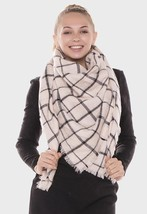 Womens Tan Square Check Blanket Scarf with Frayed Edges 313987 - €13,28 EUR