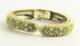 "6"" VINTAGE Jewelry 50's GREEN RHINESTONE & FX PEARL HINGED CUFF CLAMPER ... - $15.00"