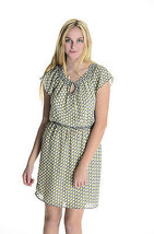Sz S Max Studio Navy Yellow & White Cap Sleeve Knee Length Lined Dress 2... - $33.66