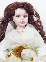 "Doll 16""Inches Dark Hair Long Curls Brown Eyes Floral Dress (B16B28) - $26.99"
